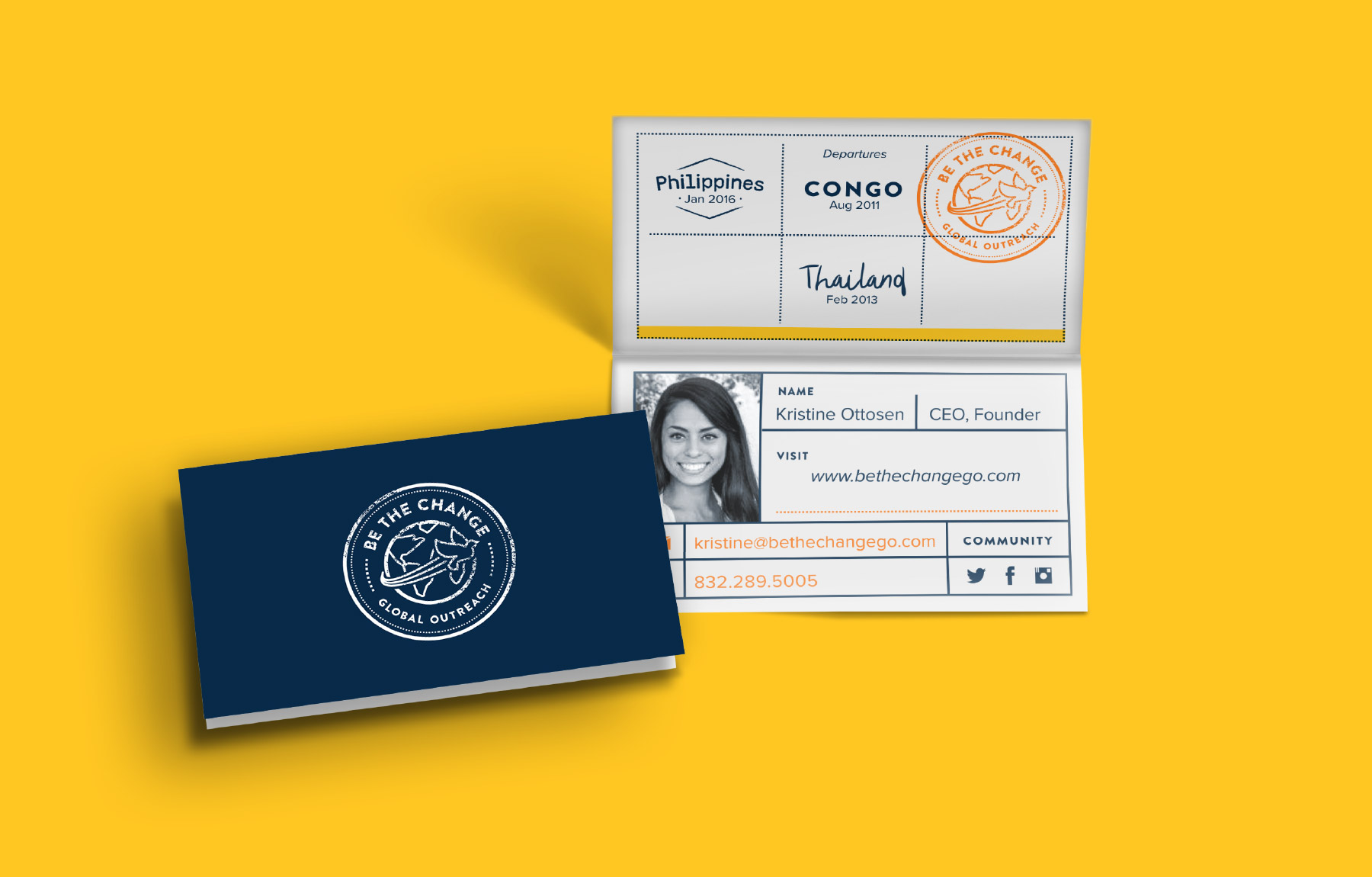 Fun, foldable passport business card design