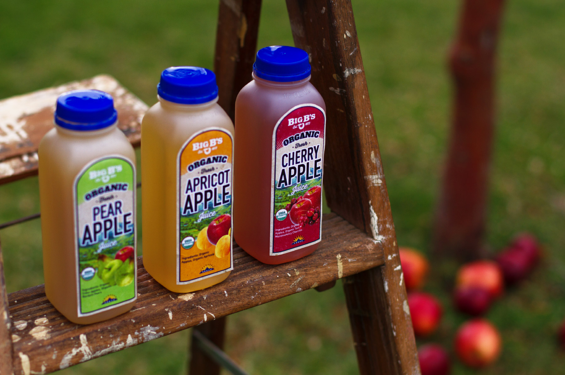Pear, apricot, and cherry apple juice product photography