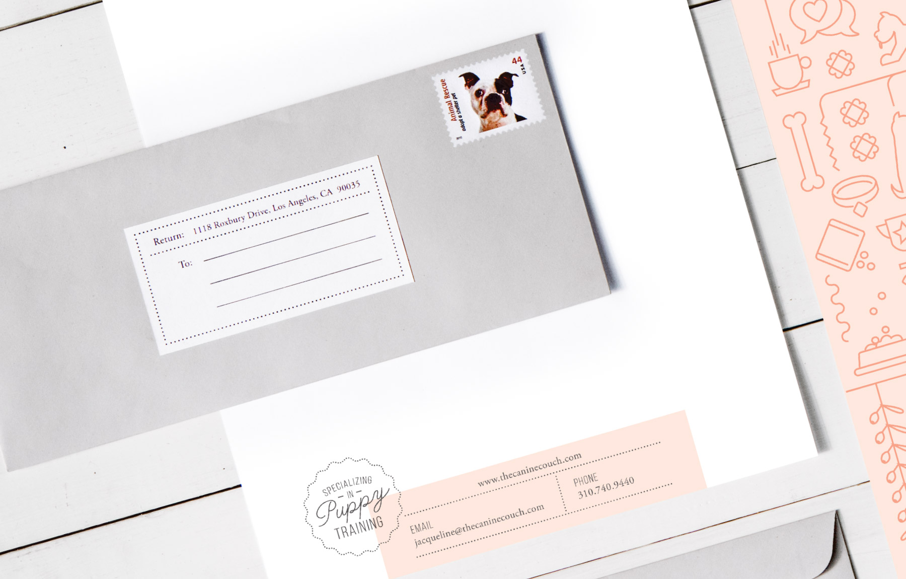 Charming envelope design with dog stamp
