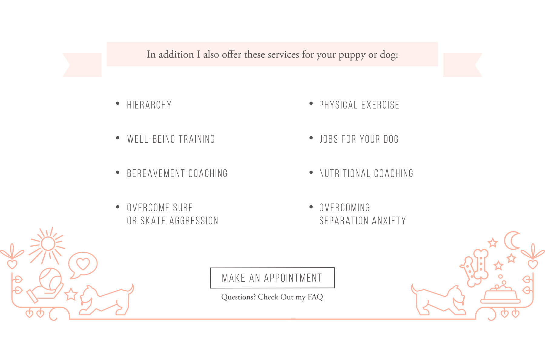 Dog services listing with cute puppy boarder