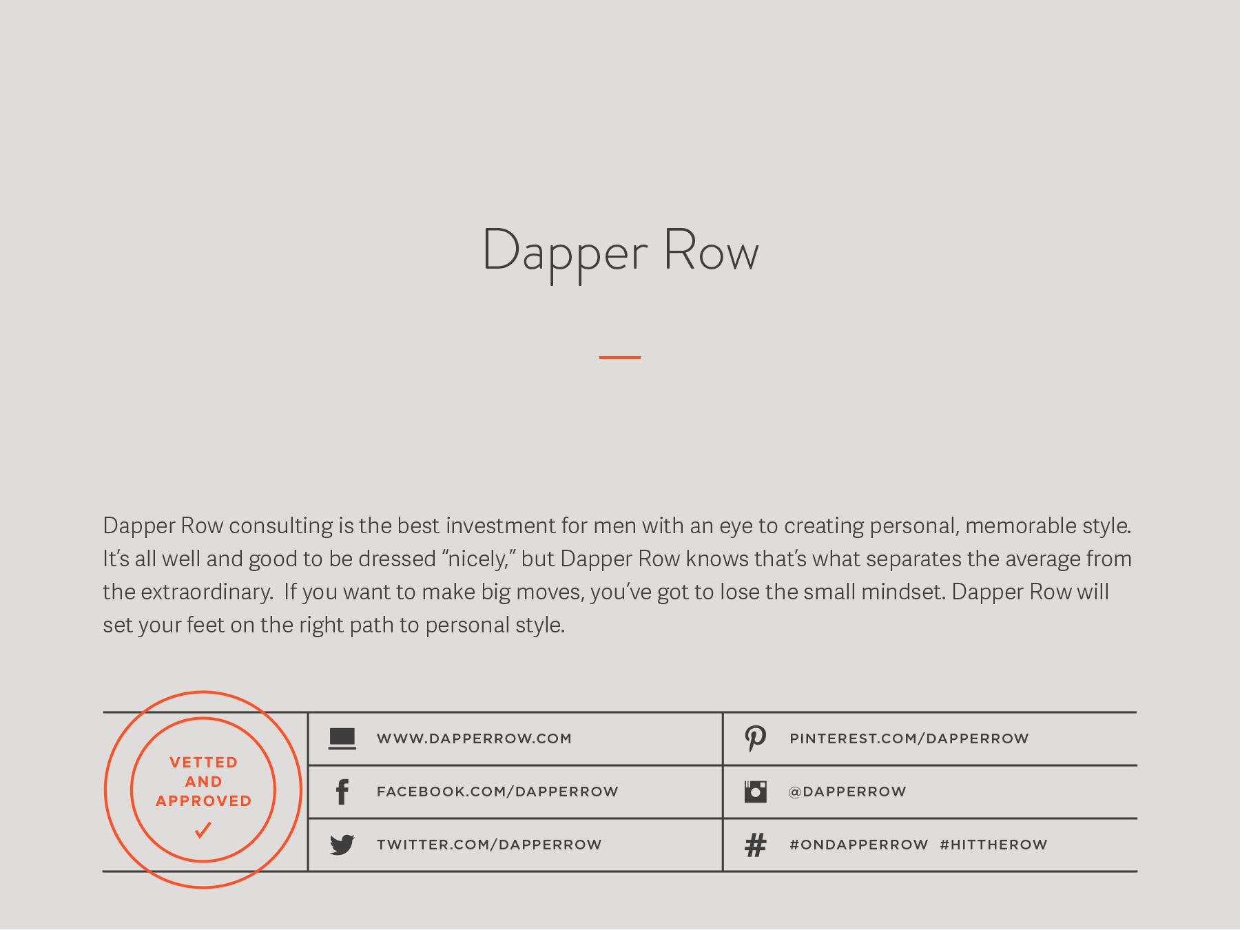 Dapper Row company naming process