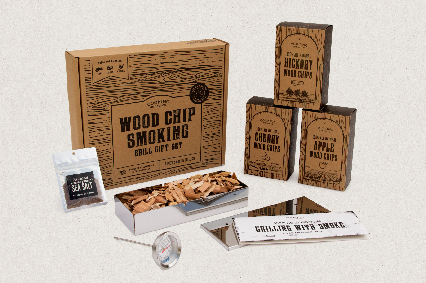 Full set with main box, three wood chip boxes, instructions, and hickory smoked salt