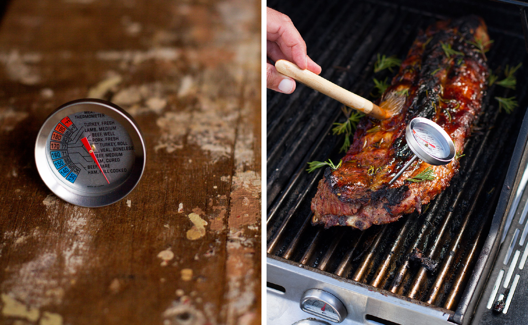 Checking ribs with meat thermometer