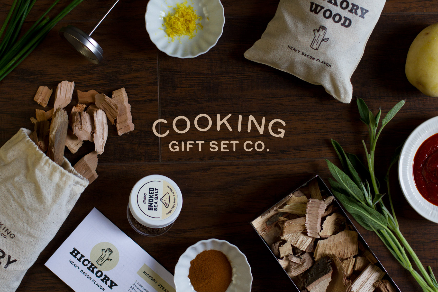 Cooking with wood chips table set up