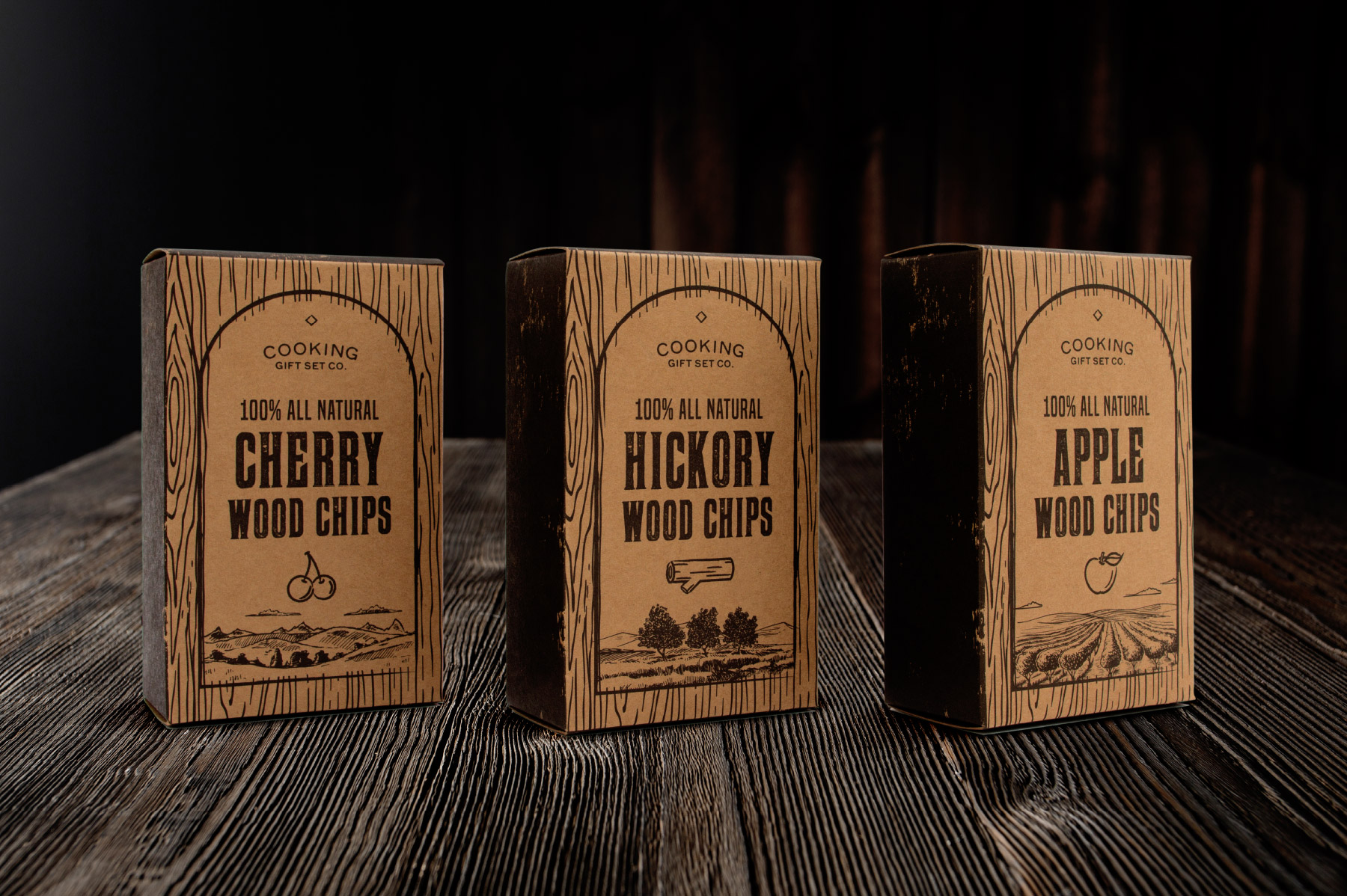 Cherry, Hickory, and Apple Wood Chips Box Design
