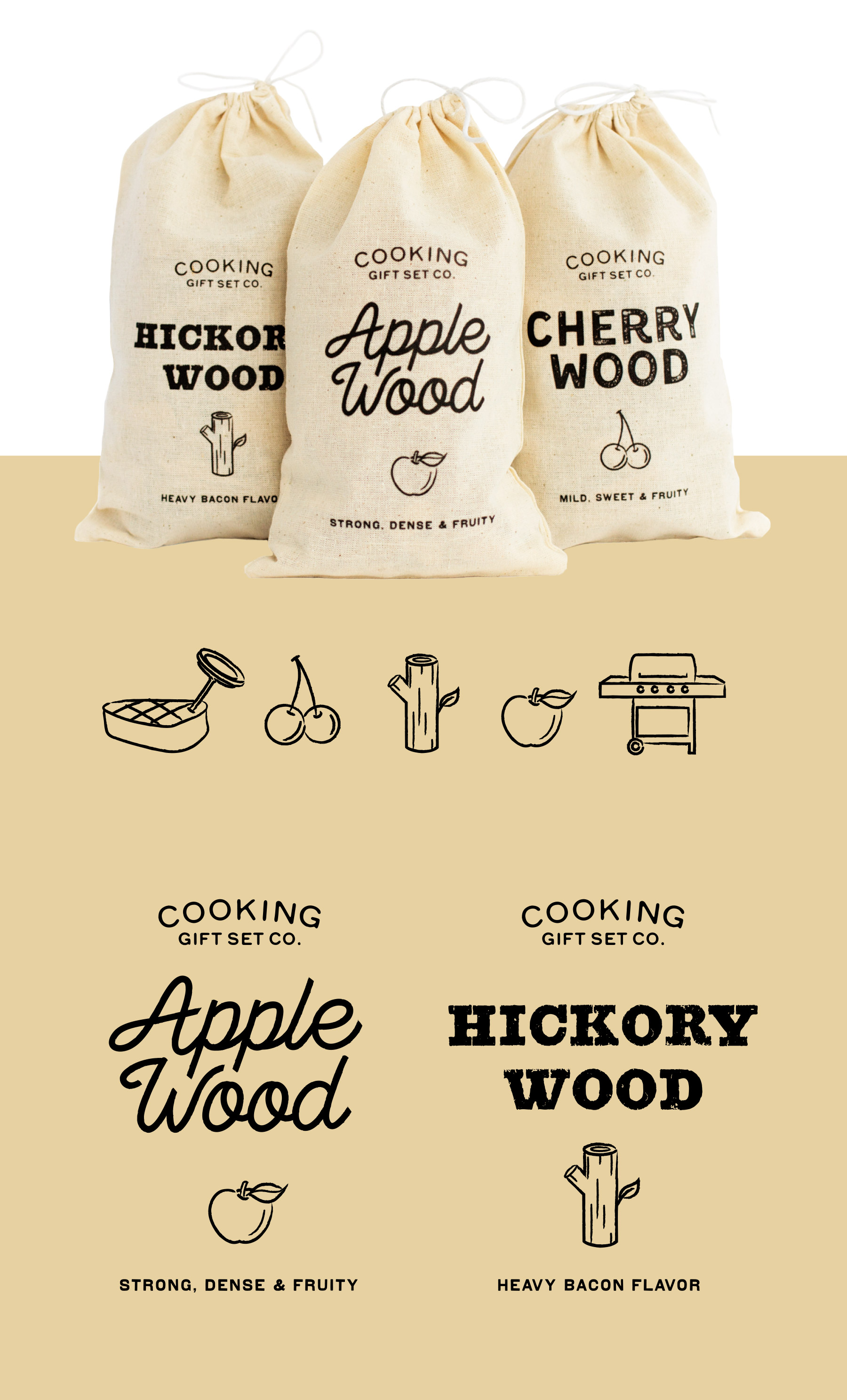 Wood chip flavor packaging and illustrations