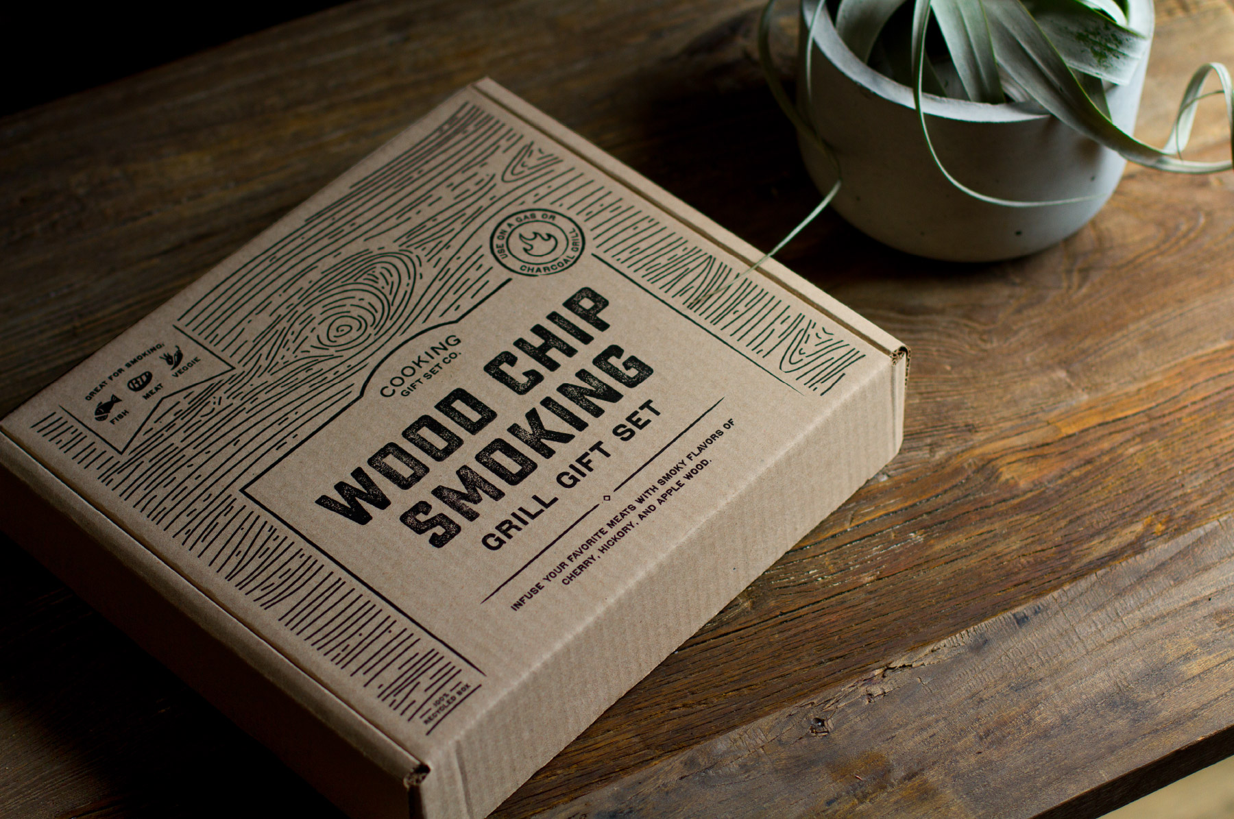Wood inspired cooking kit packaging design