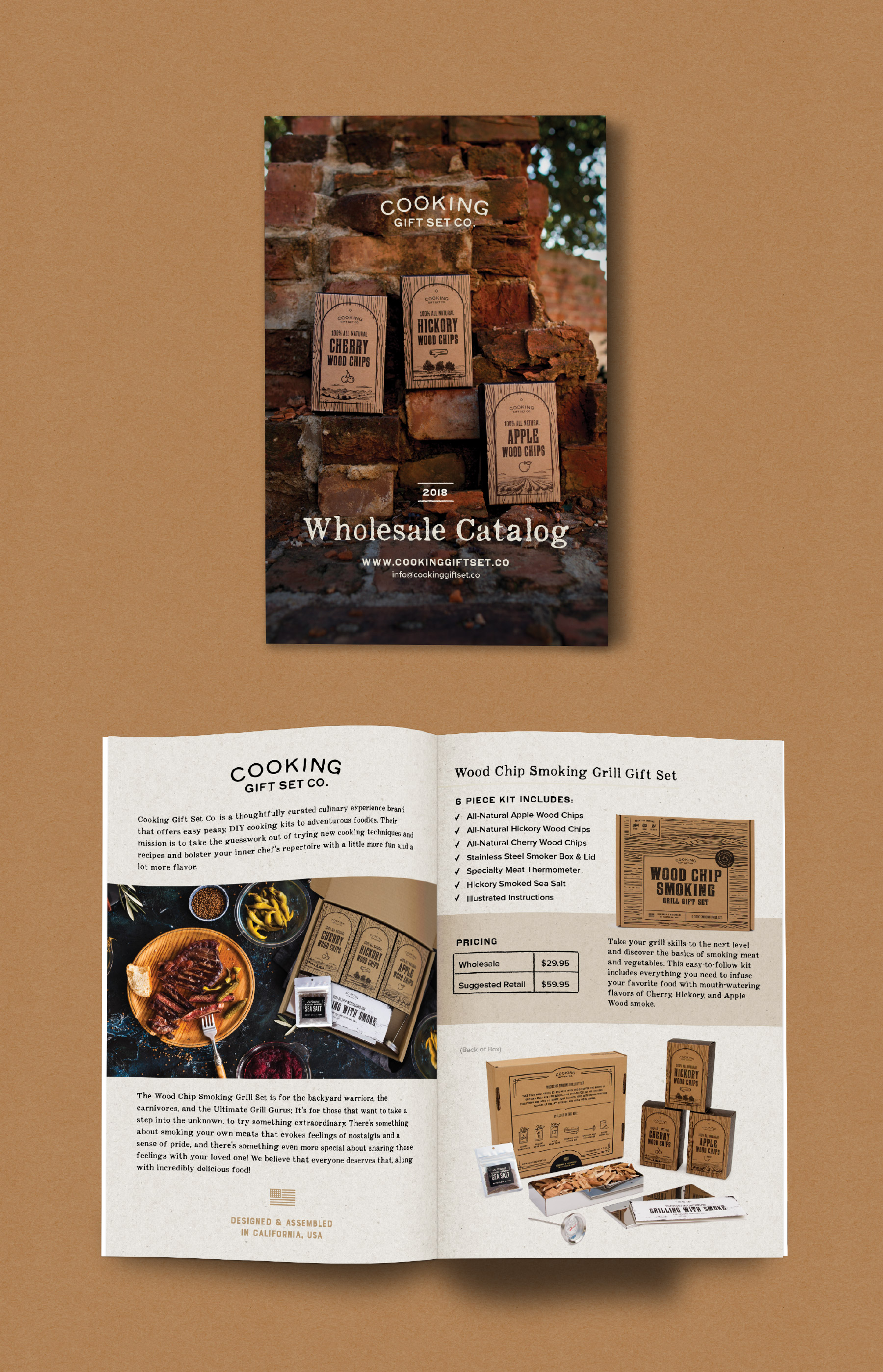 wholesale catalog cover, about page, and pricing information