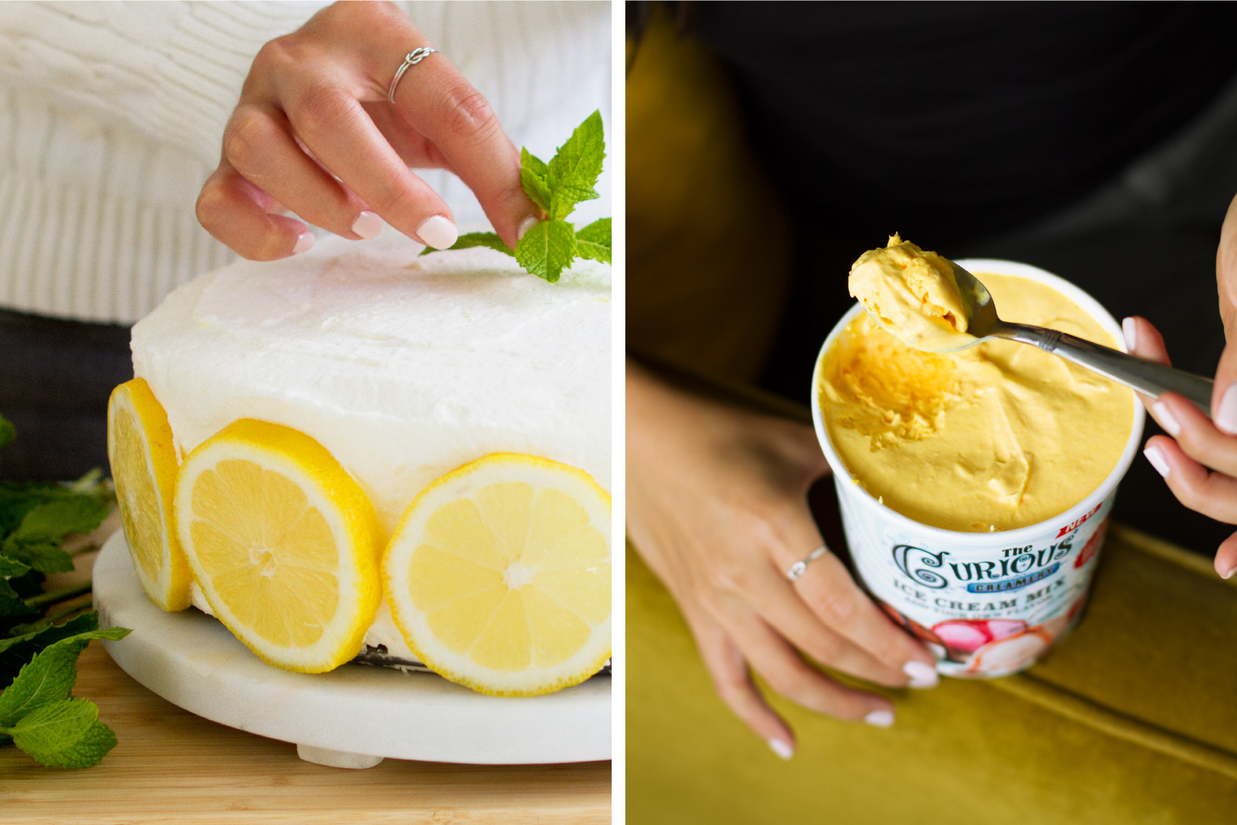 Decorating a lemon mint cake