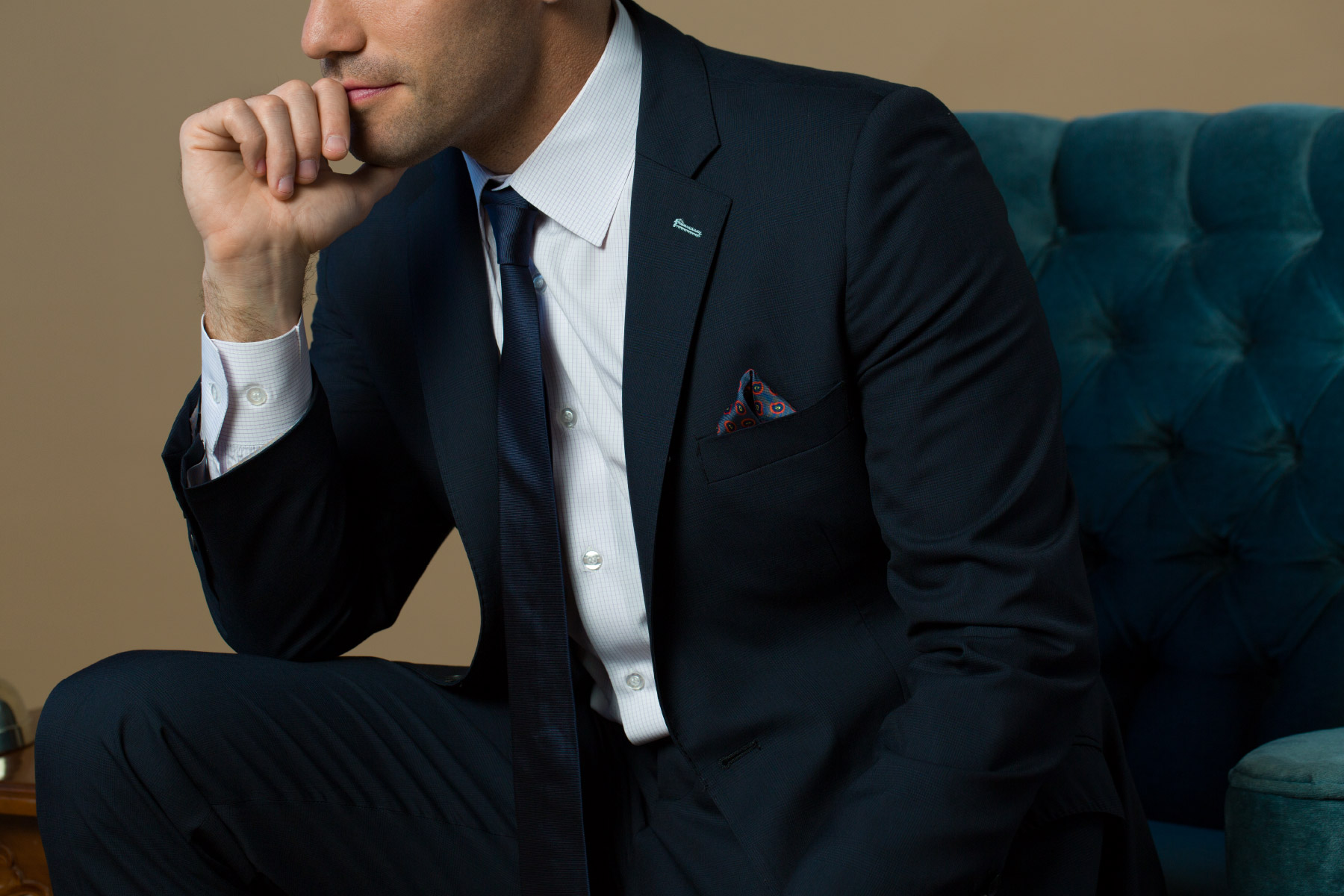 Man wearing elegant navy suit