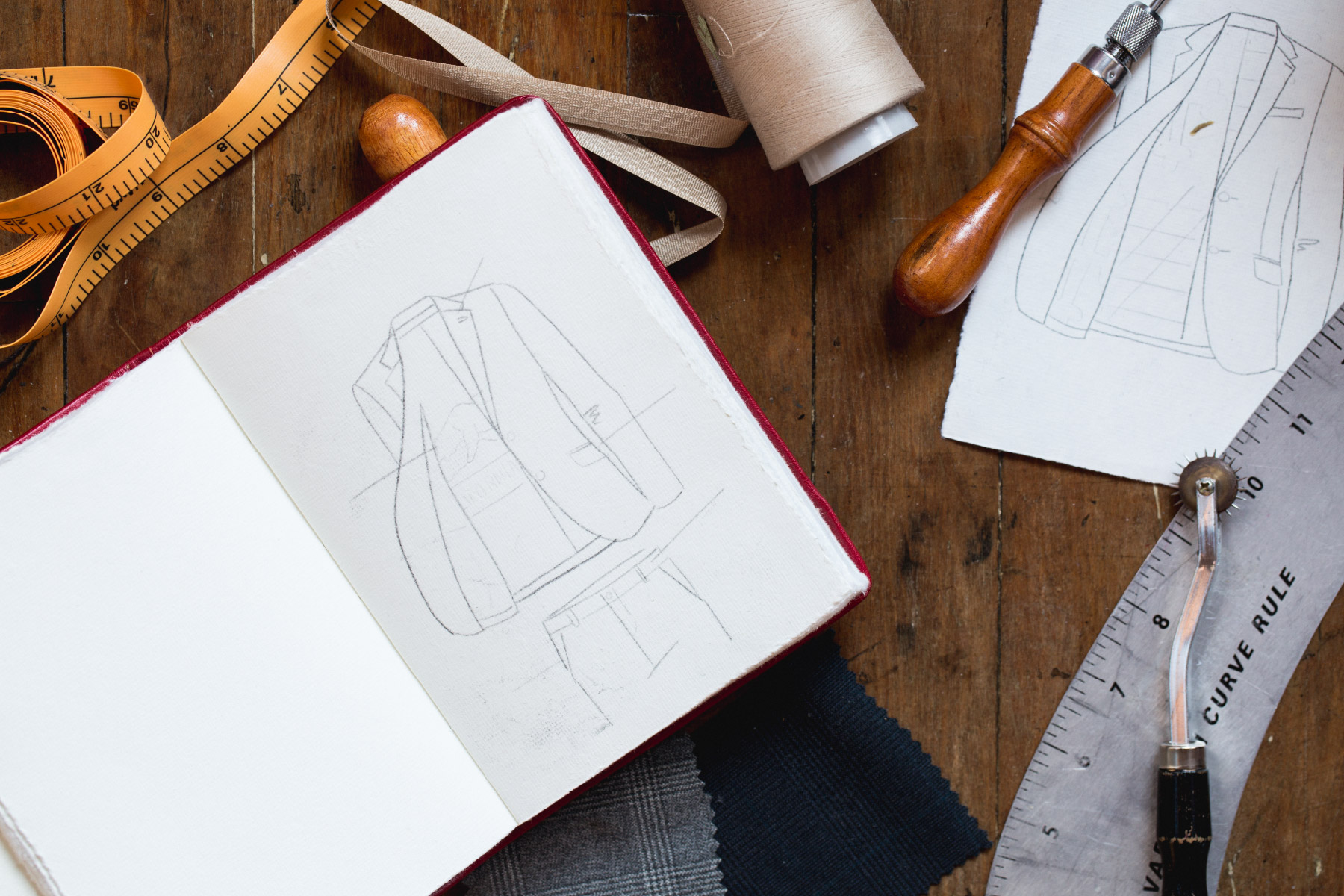 Sketches on men's blazers