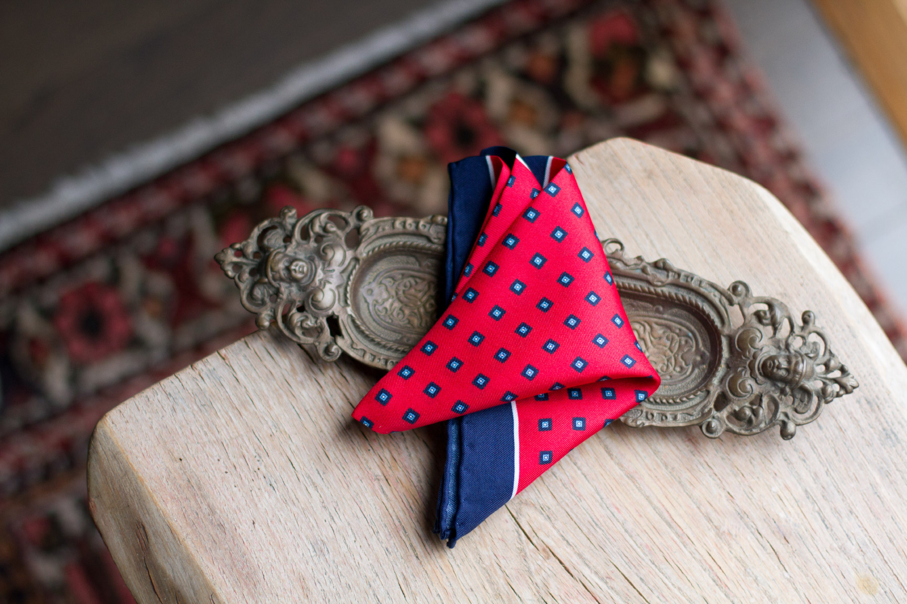 Red handkerchief with blue pattern