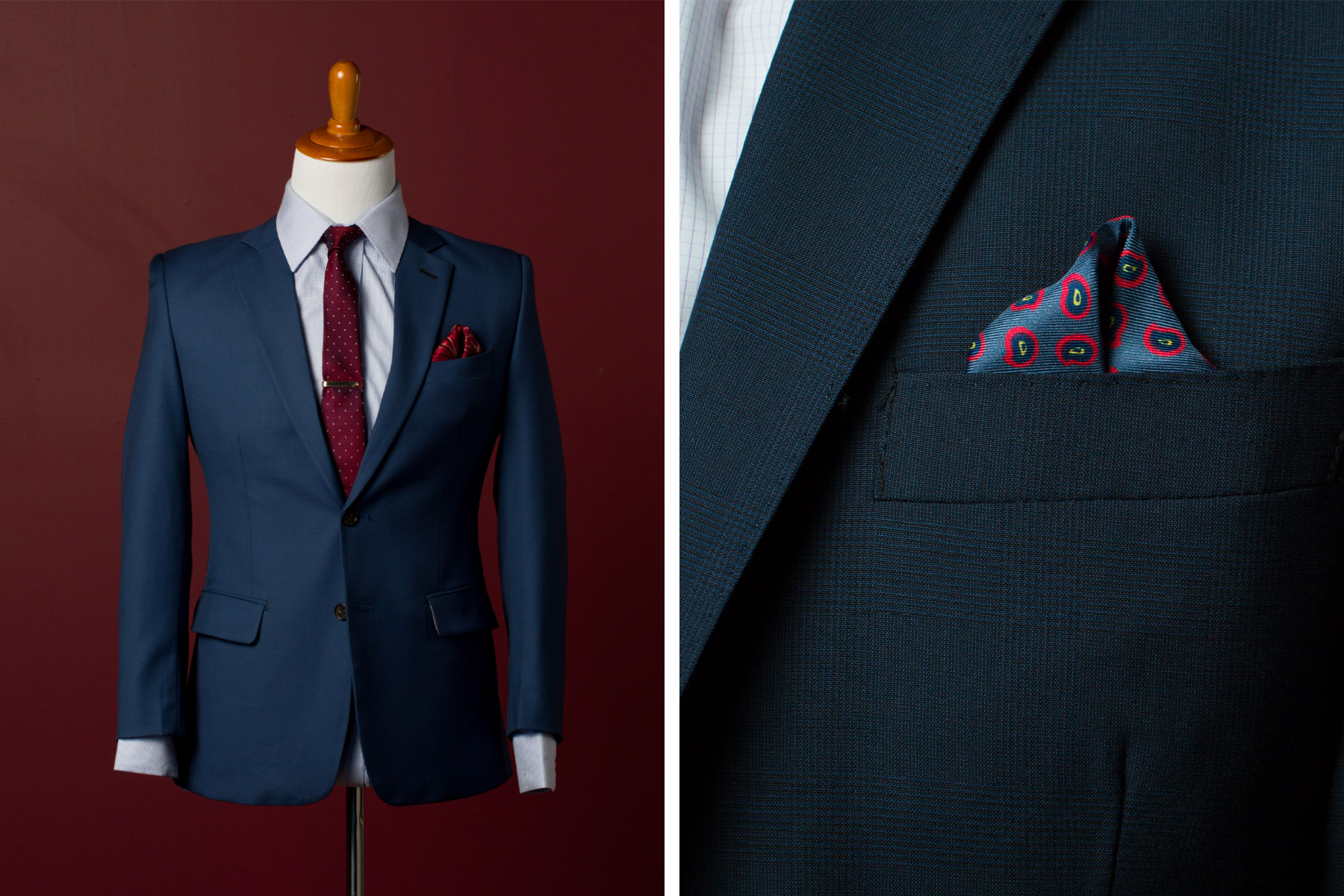 Men's classic navy suit with pocket square