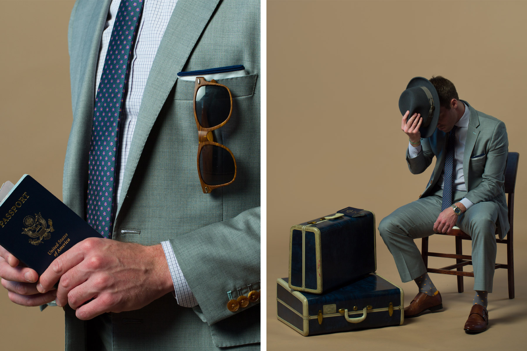 Client modeling suit and travel accessories