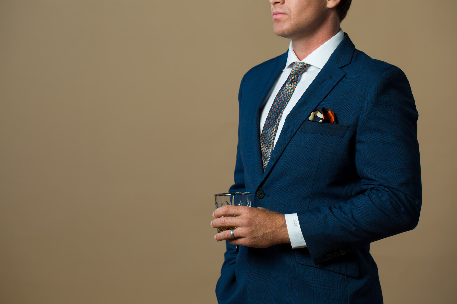 Navy suit with subtle texture print