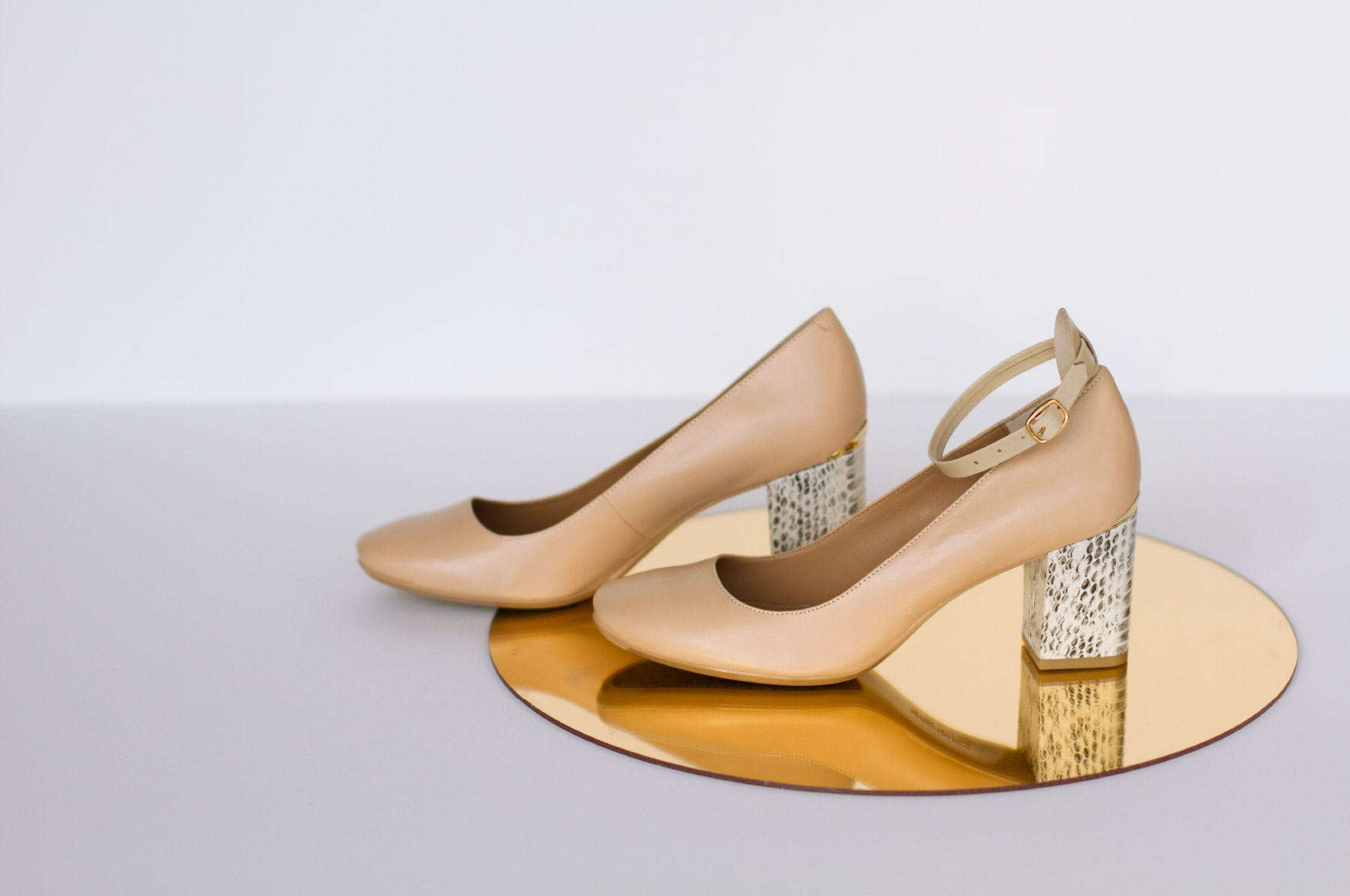 Nude high heels with attachable ankle straps