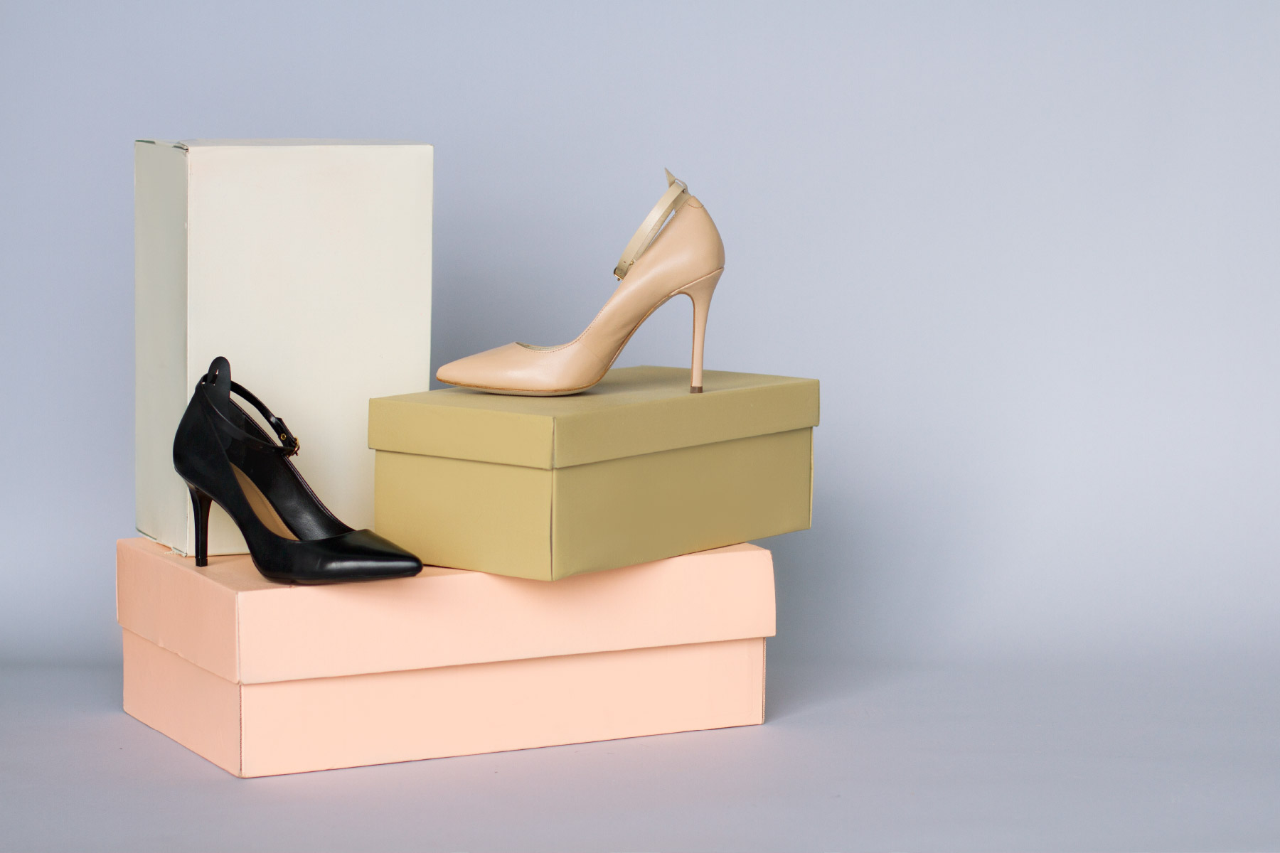 Beautiful high heels on stacked boxes