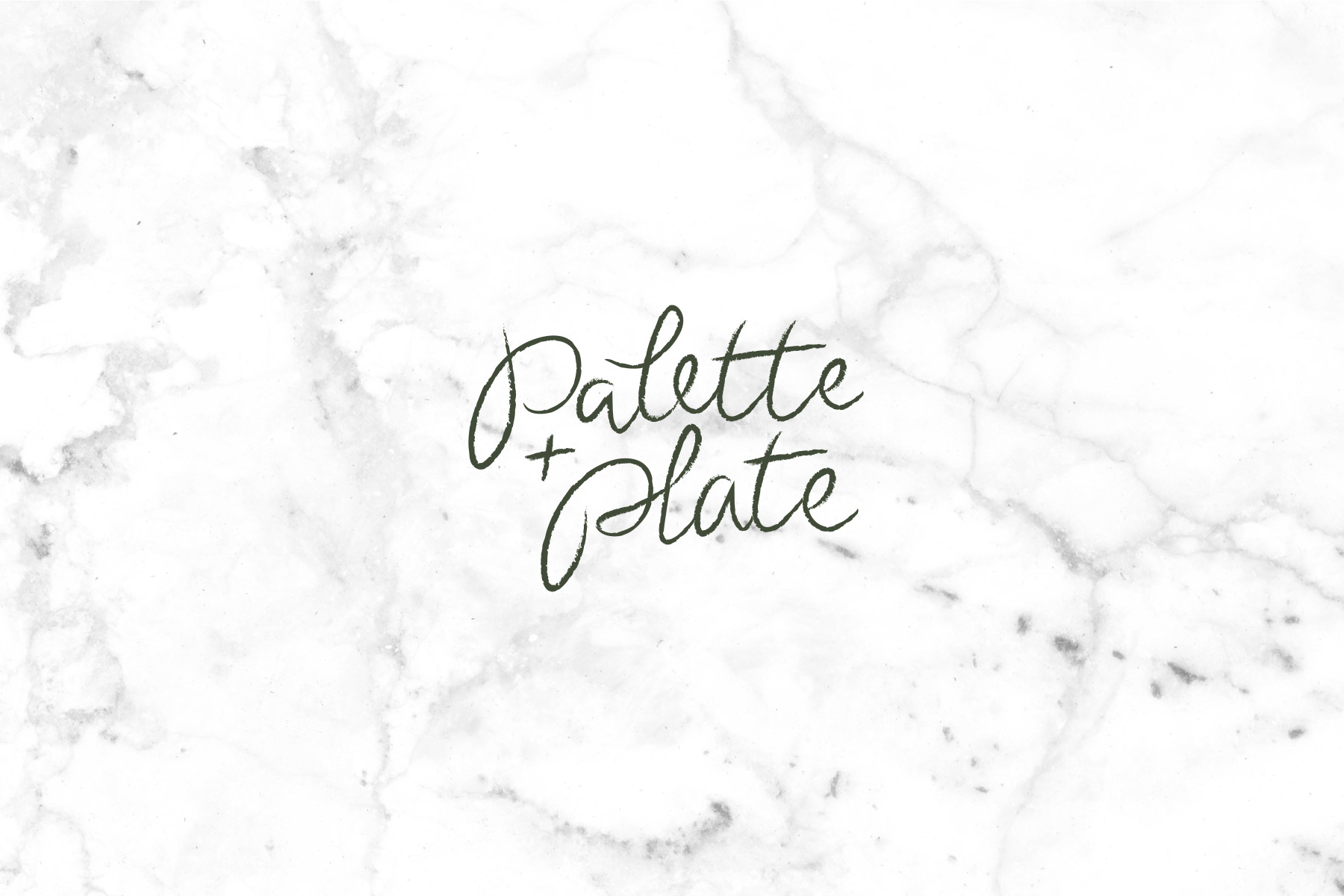 Palette and Plate logo on white marble background