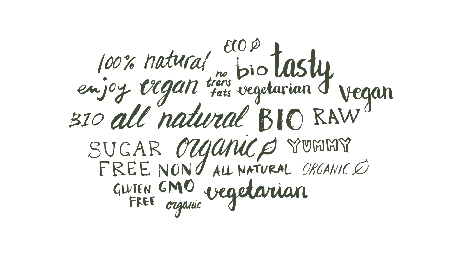 Lettering Styles Displaying Healthy Eating Words