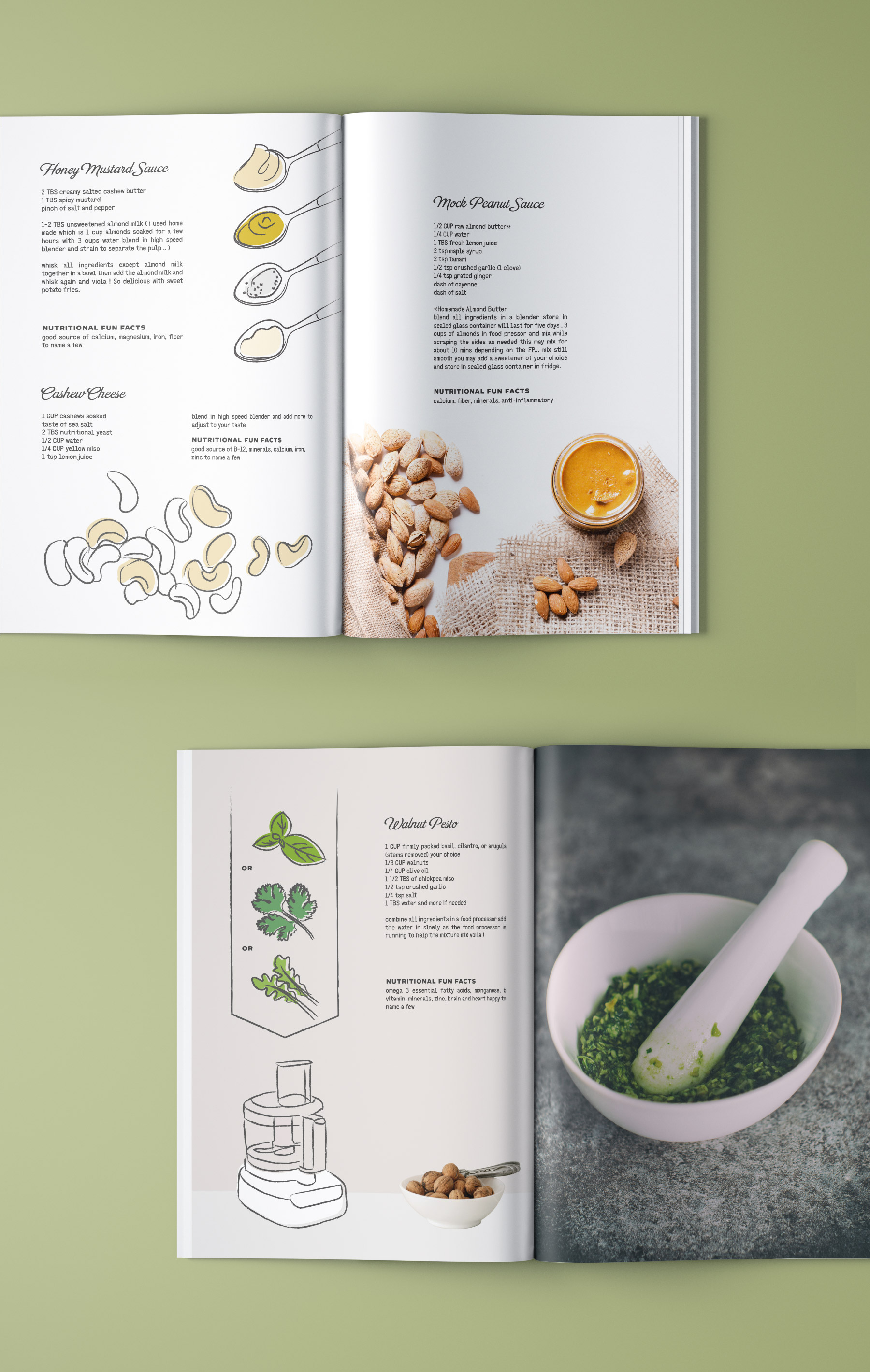 Book page layouts of vegan recipes