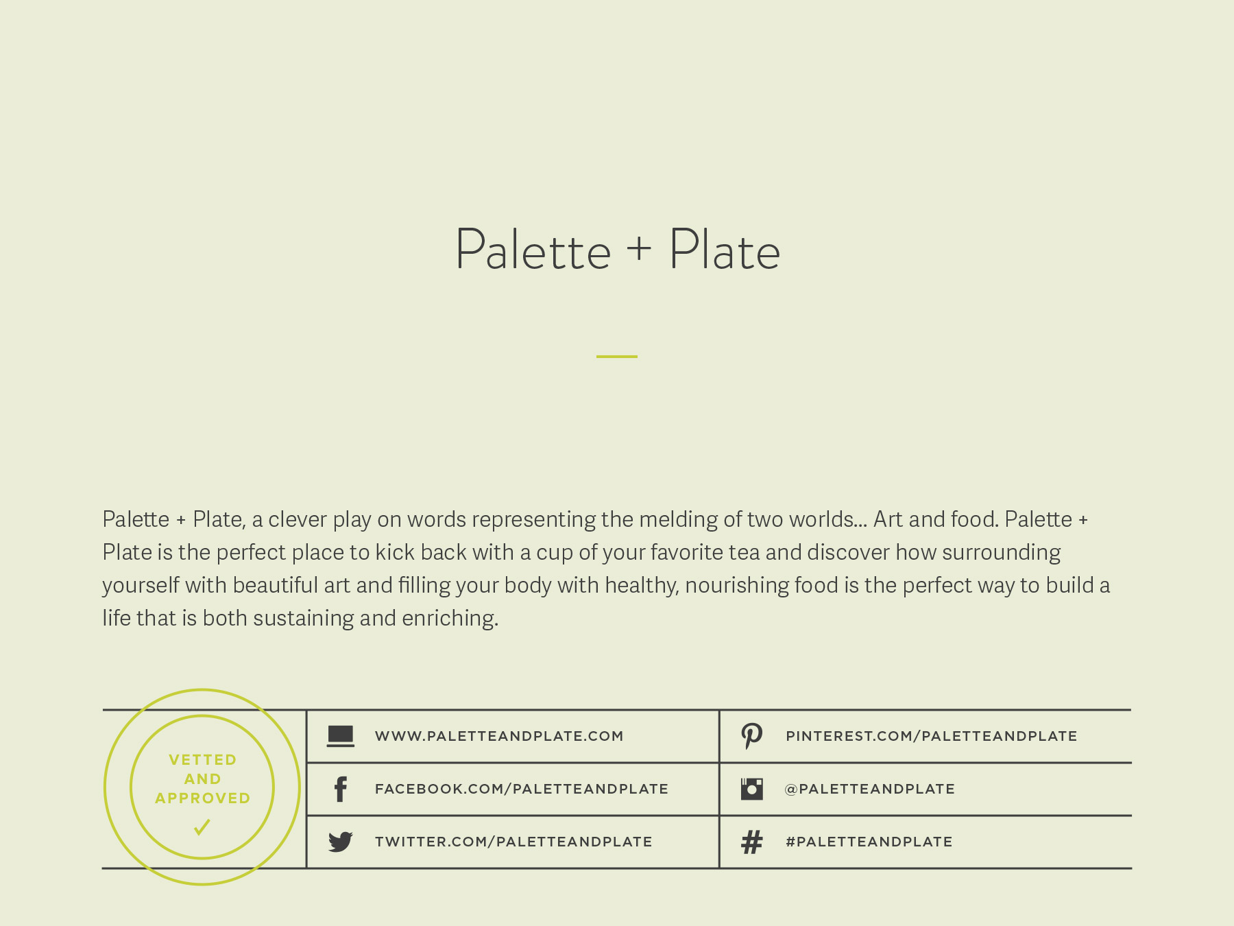 Palette and Plate company naming process