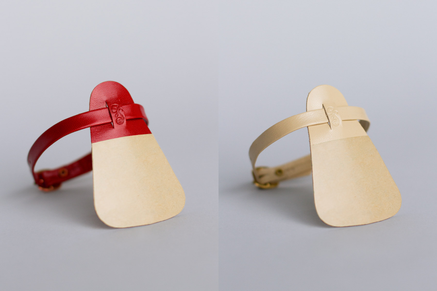 Red and nude attachable leather ankle strap