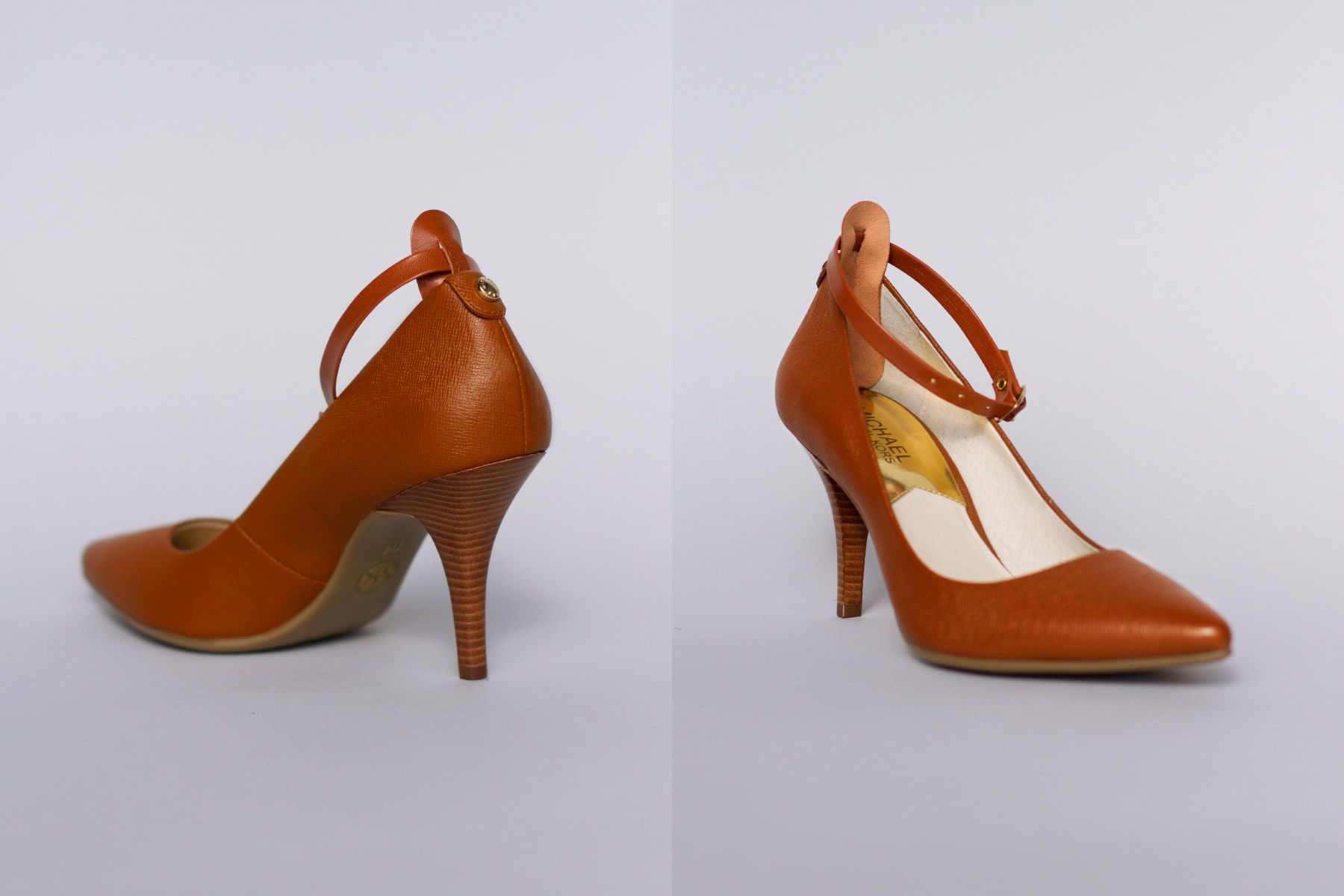 Tan high heels with attachable ankle straps