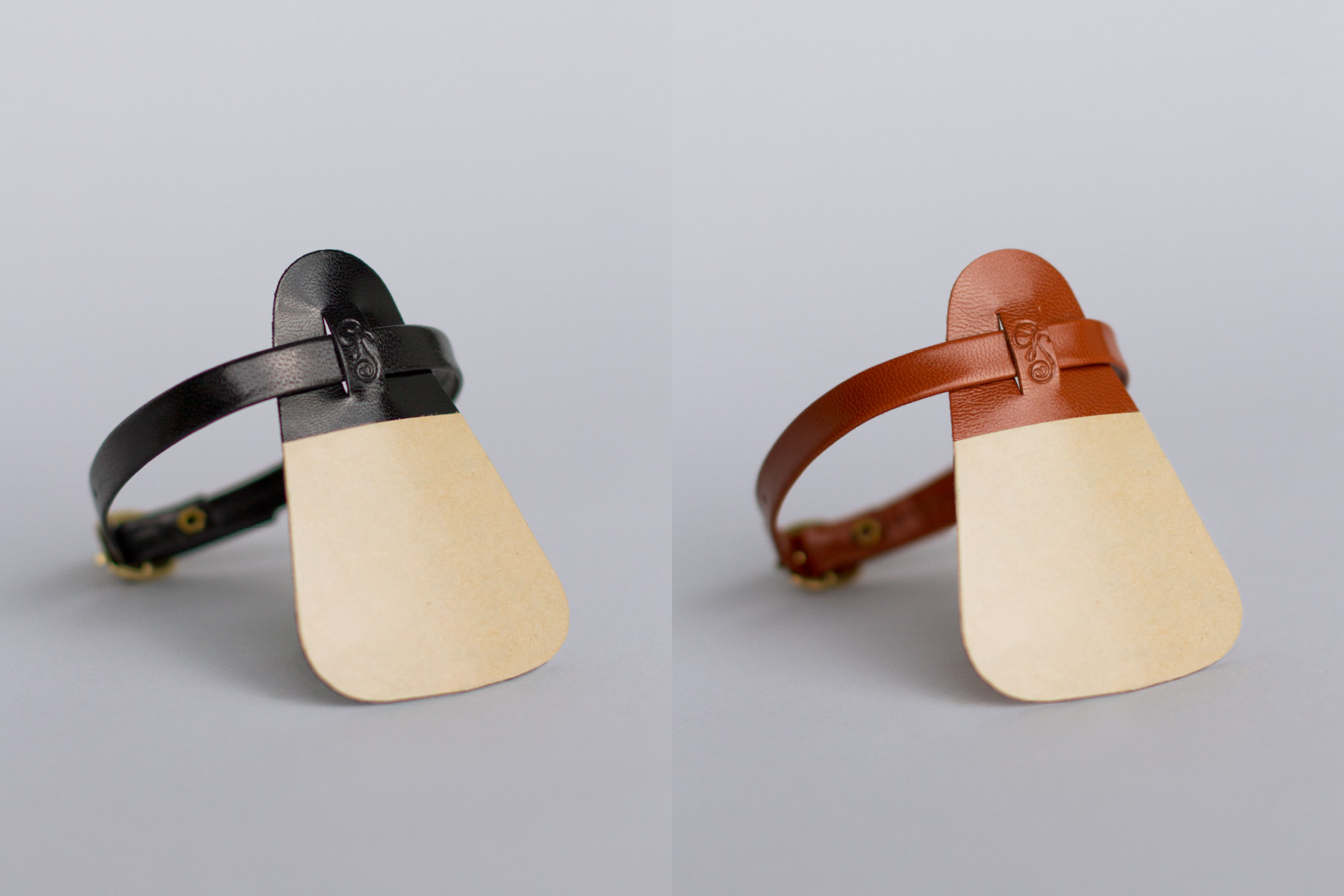 Black and brown attachable leather ankle strap