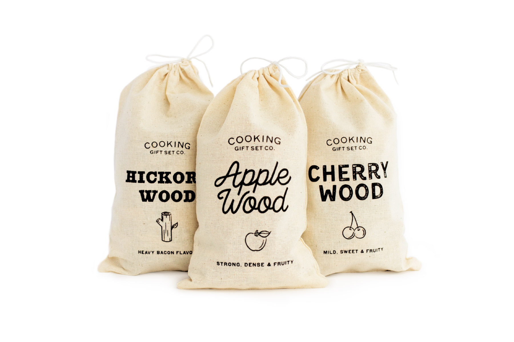 Rustic lettering design on cloth bags