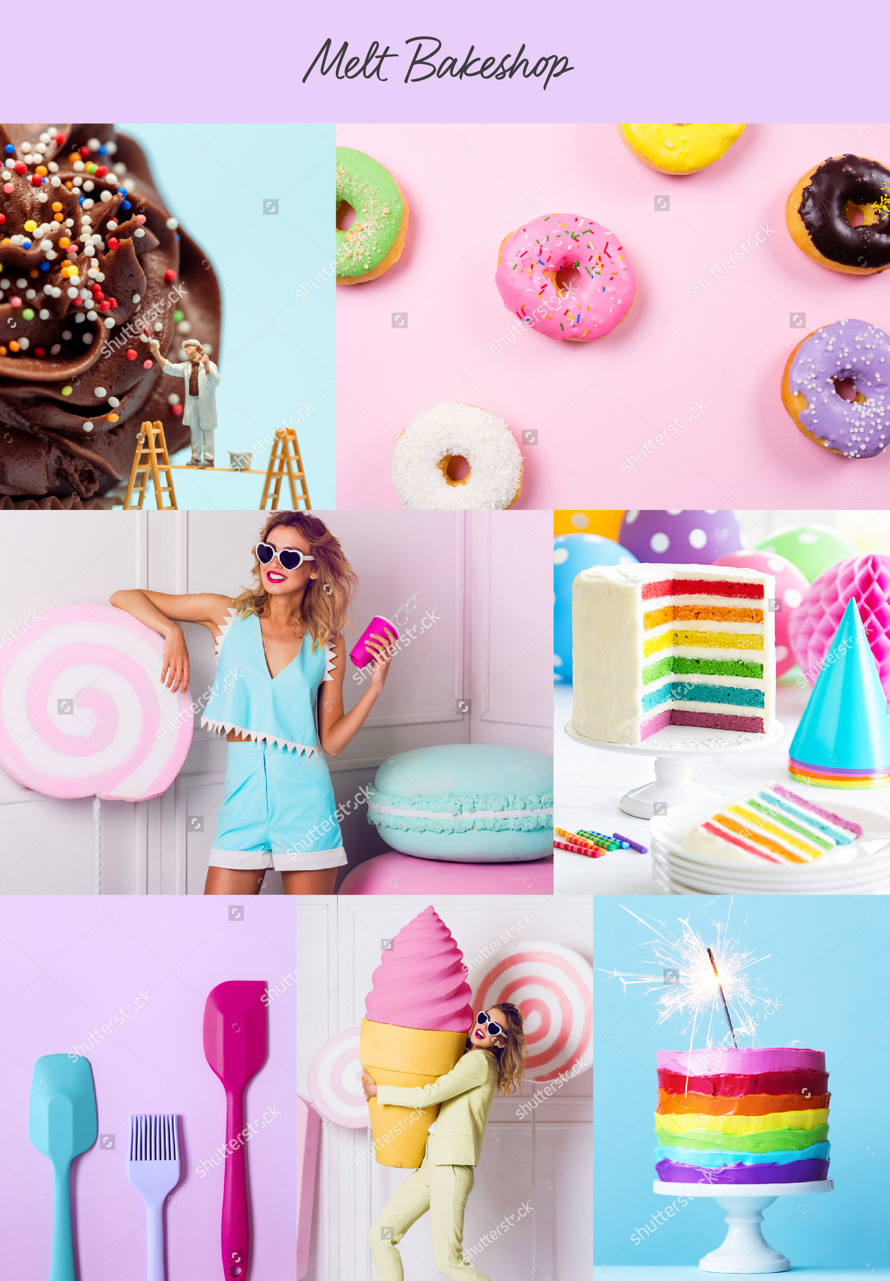 Collage of colorful baking sweets