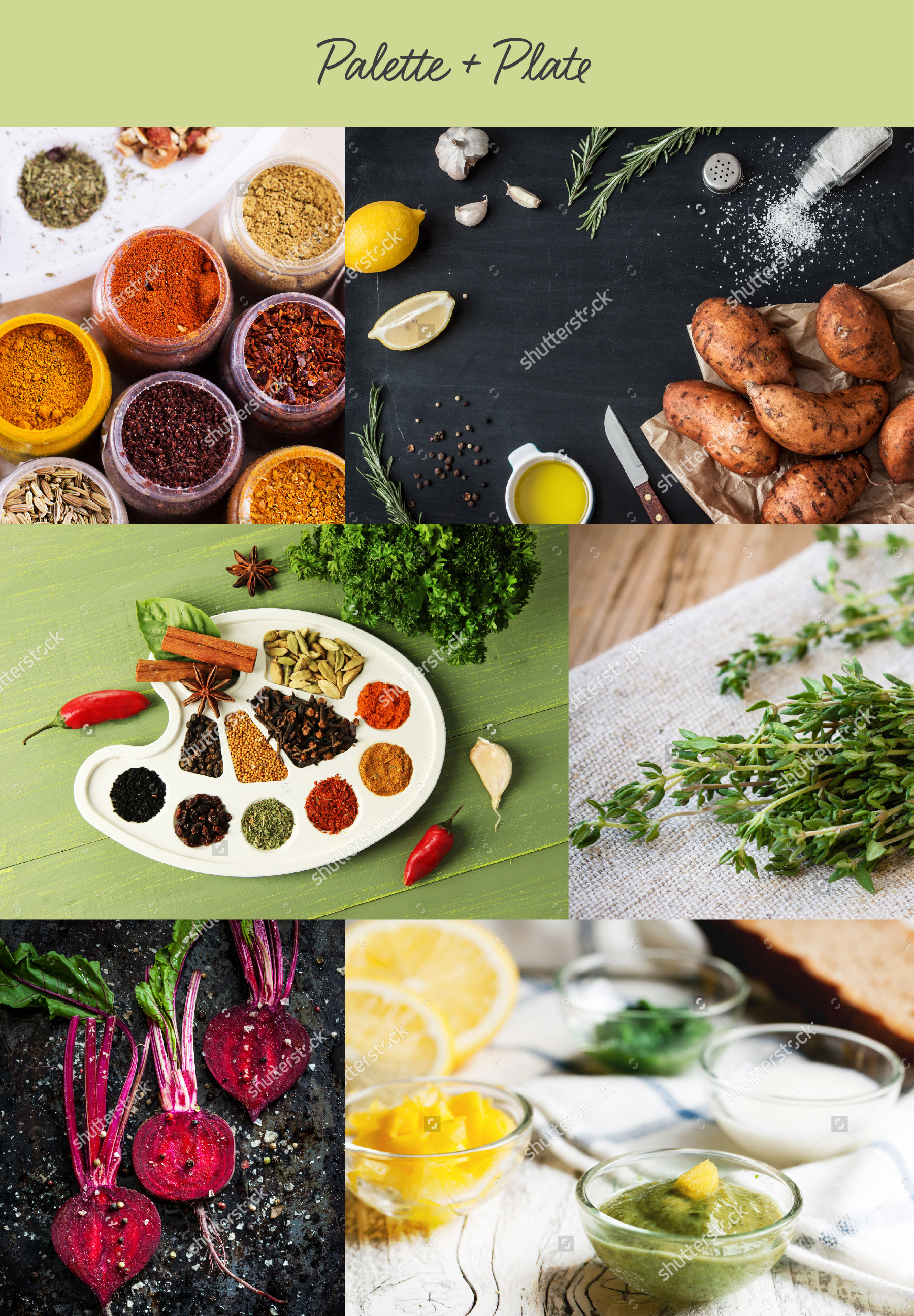 Collage of colorful spices and seasonings
