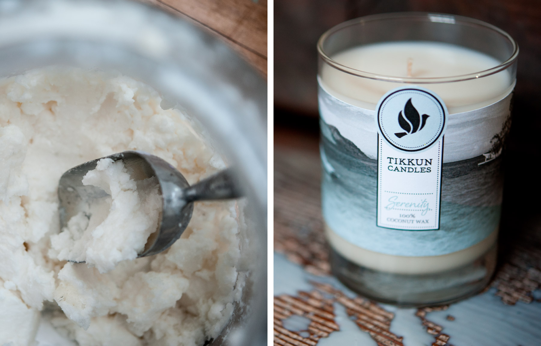 Coconut wax with serenity candle