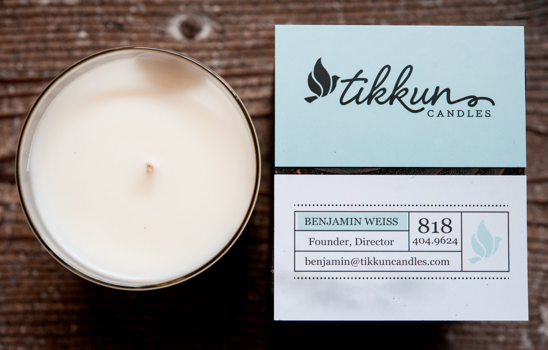 Fun business cards for candle company