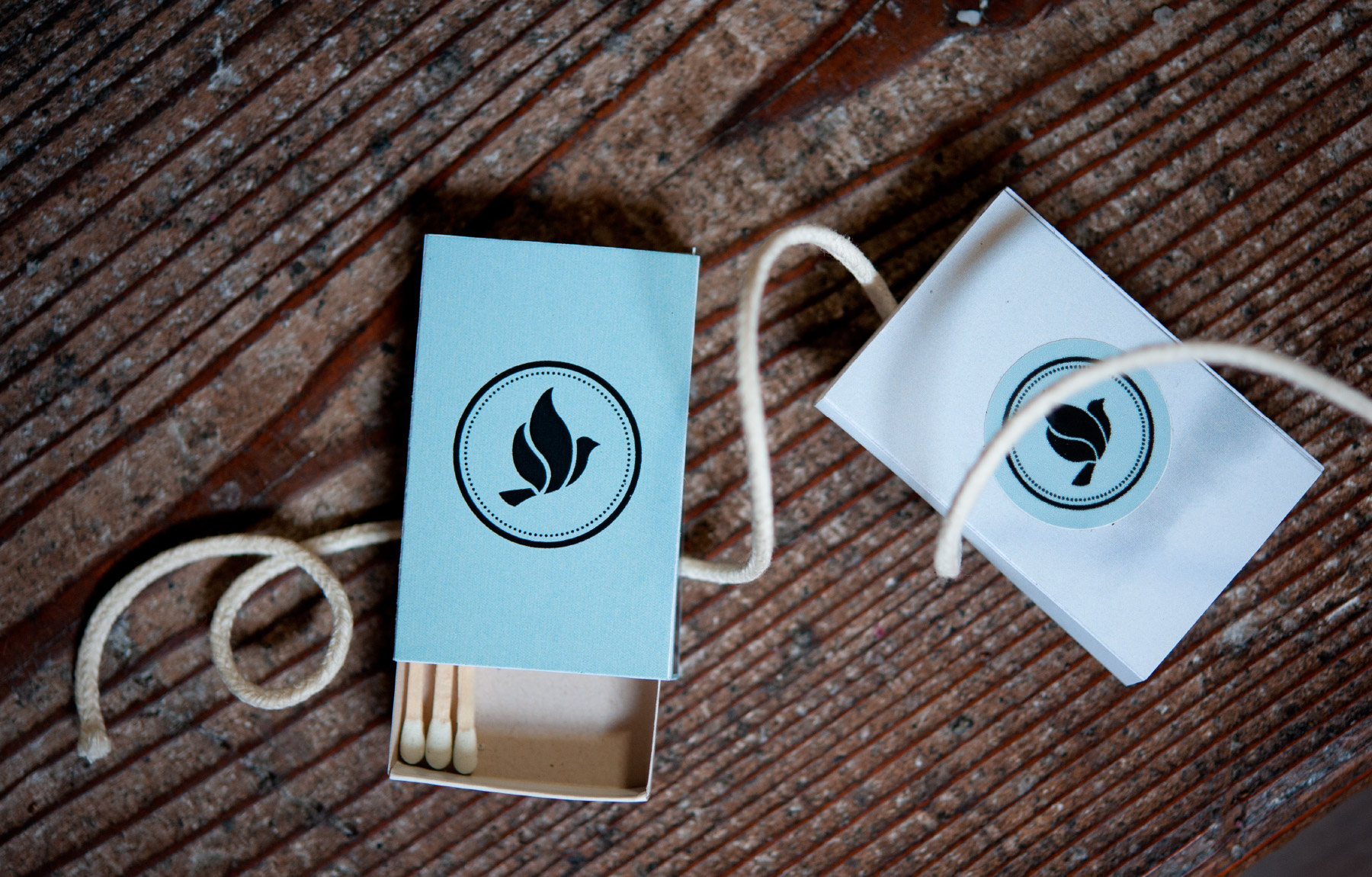 Dove matchbox design with matches
