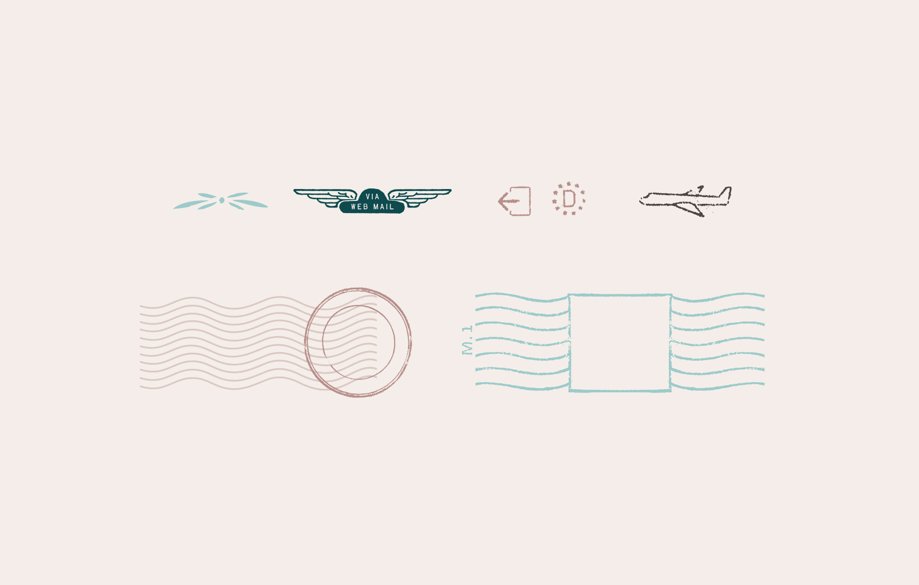 Rustic travel icons for a website