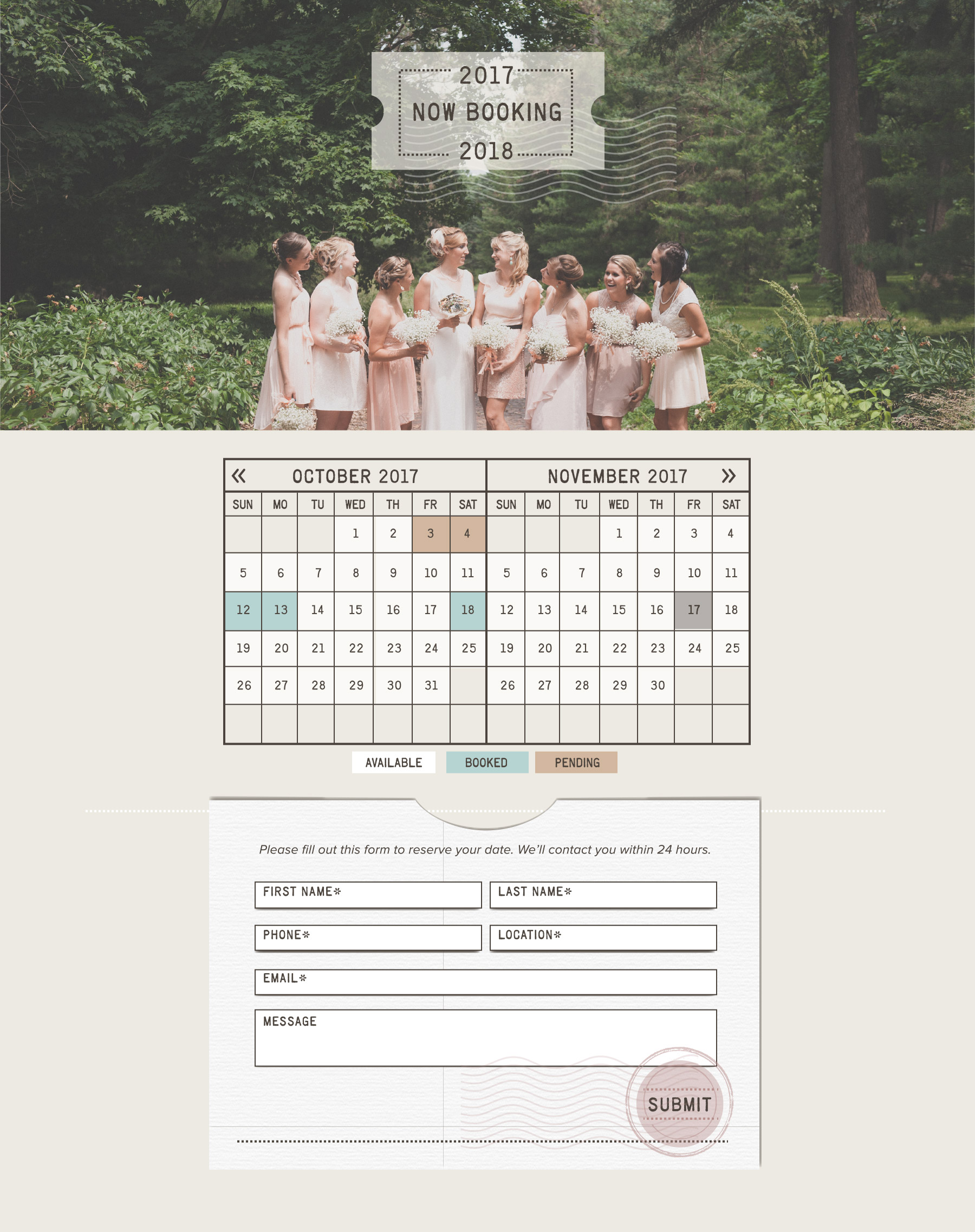 Wedding photography booking calendar and form