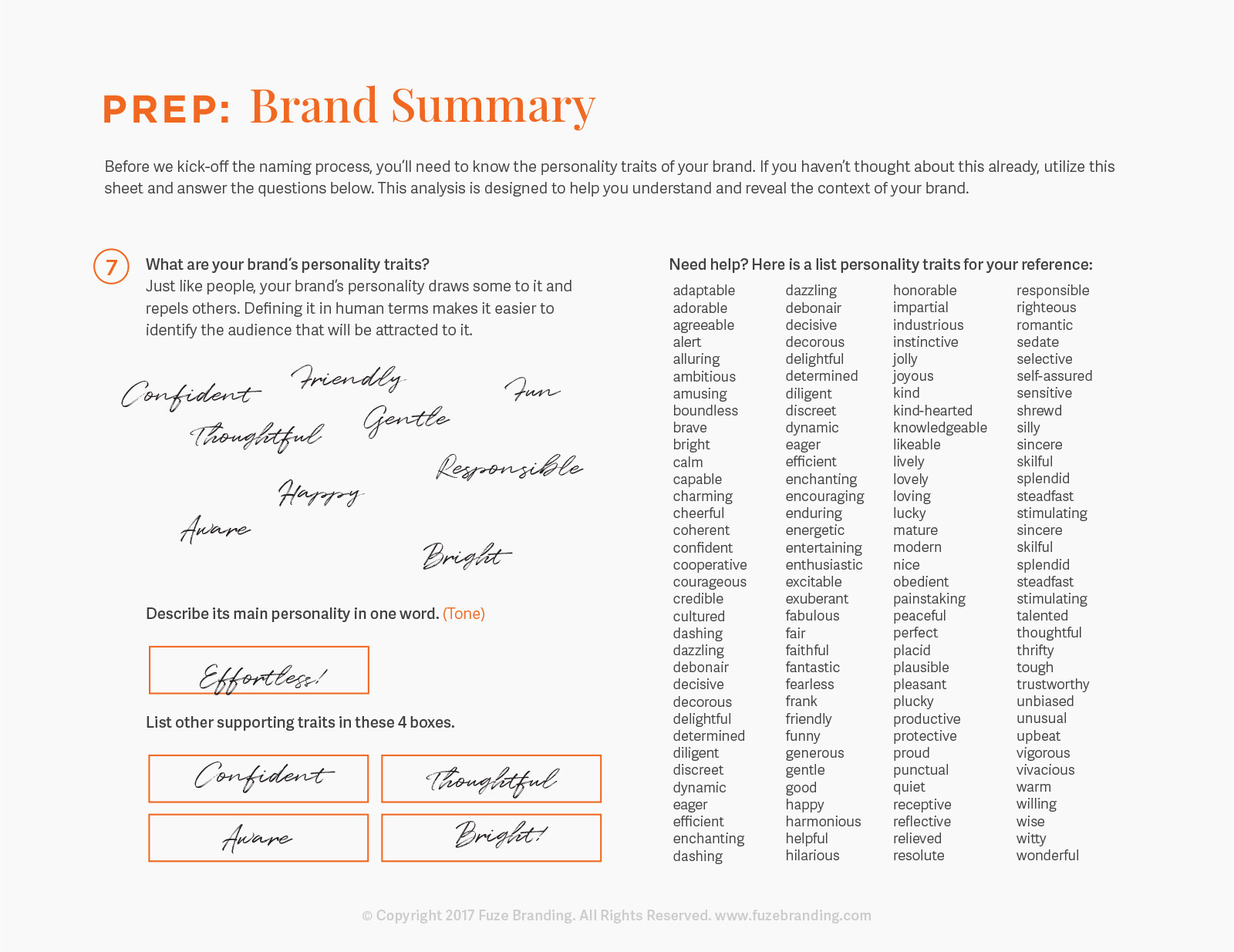 Fuze Branding Brainstorm Worksheet – Brainstorm Worksheet