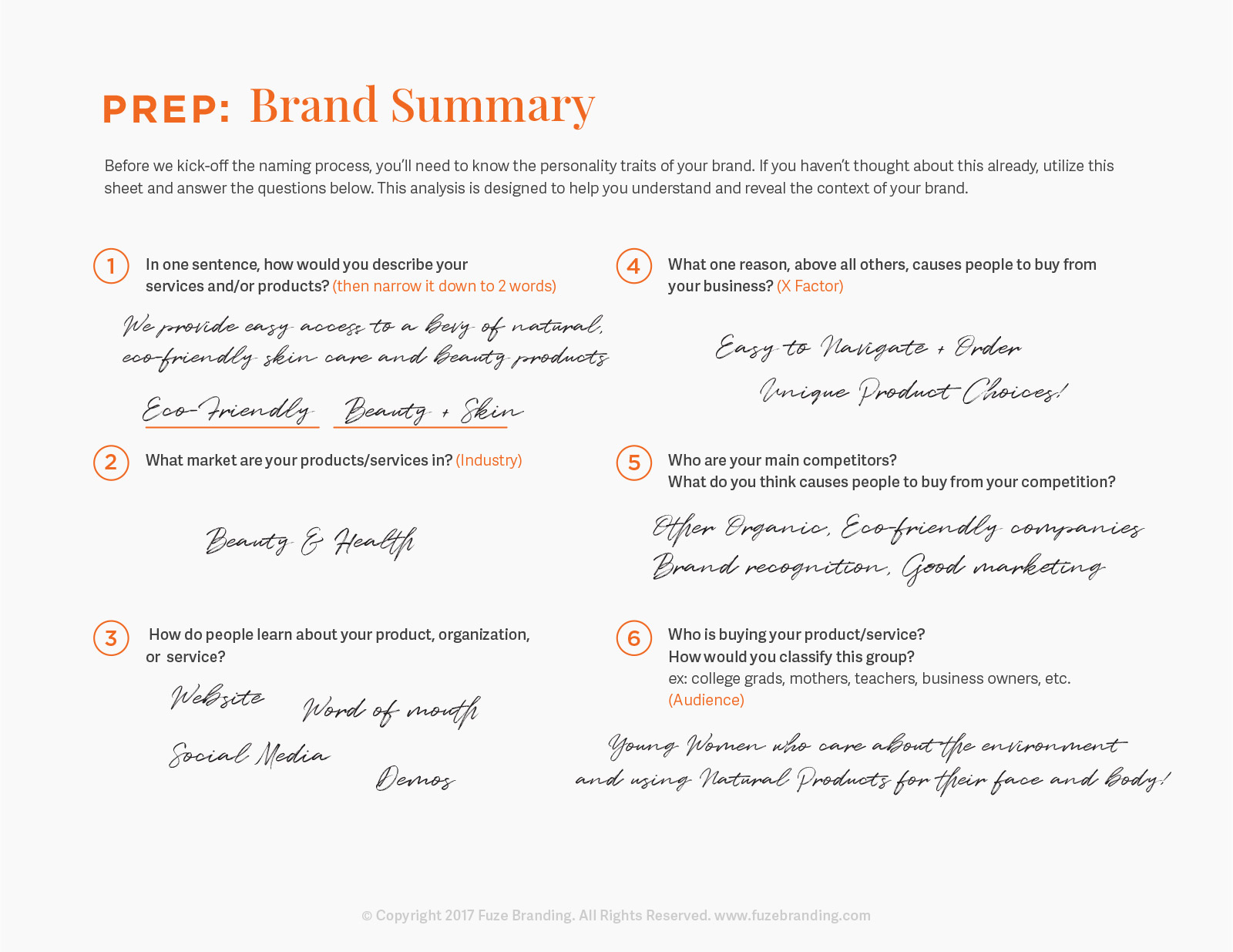 Small business naming, brainstorm worksheet. Brand Summary