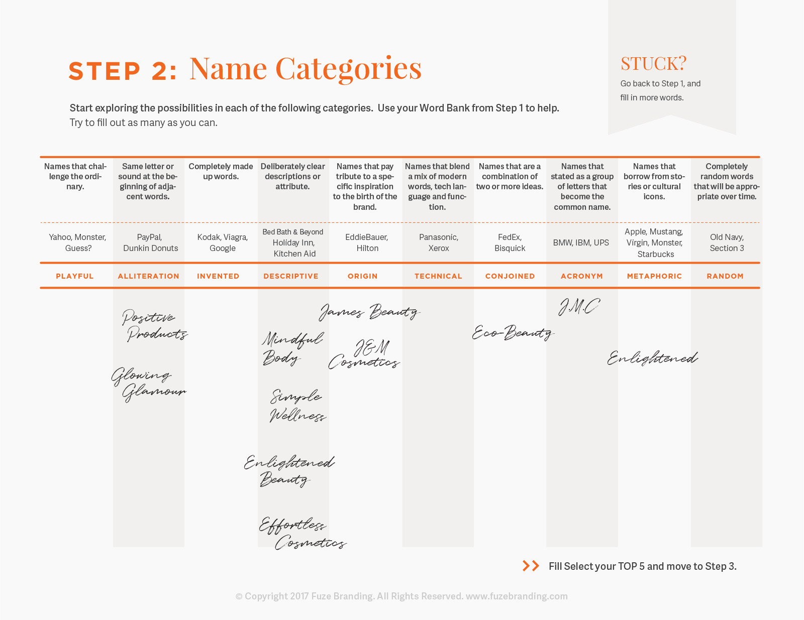 Fuze Branding - Brainstorm Worksheet | Tips for Naming Your Business