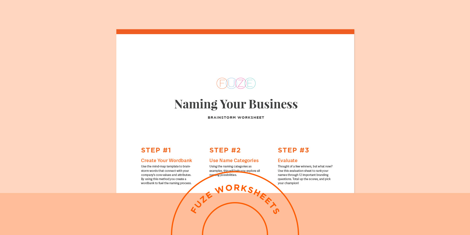 Naming Your Business free brainstorm worksheet