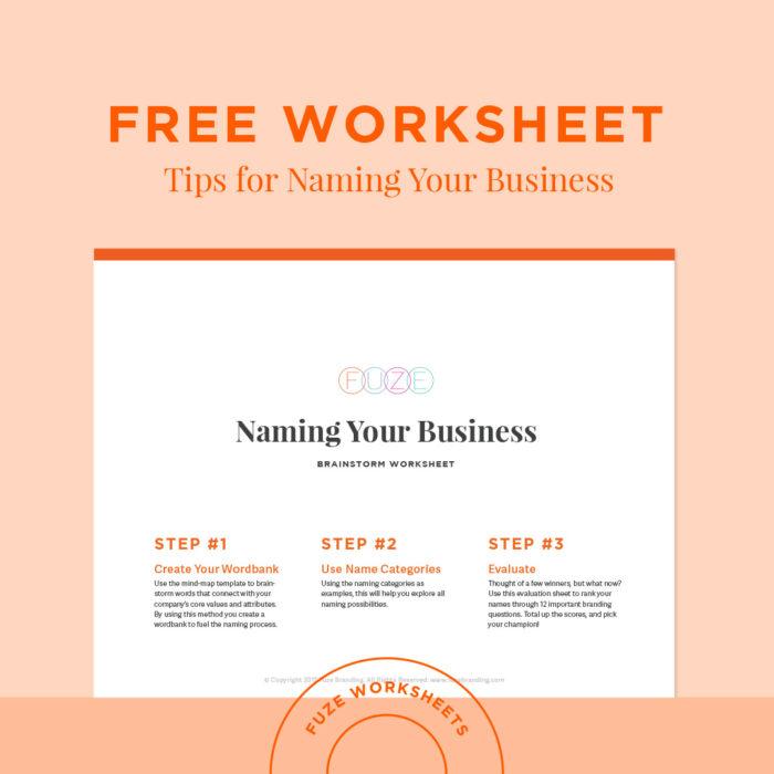 Fuze Branding Brainstorm Worksheet Tips For Naming Your Business